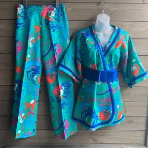 Tori Richard Kimono Pant Set Geometric Hawaiian